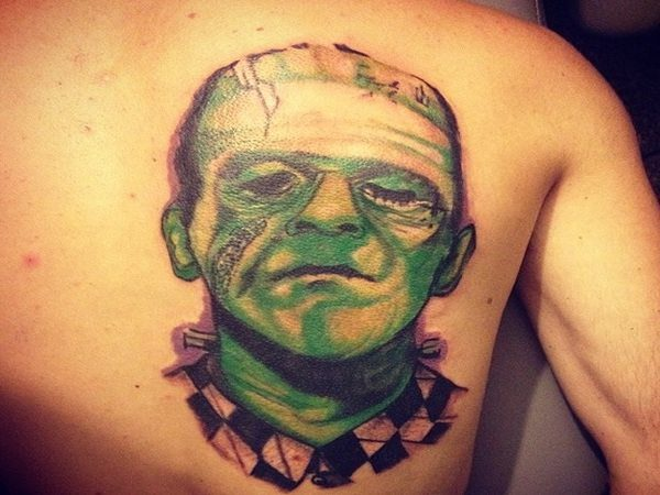 Green Faced Frankenstein with Black and White Checkered Shirt