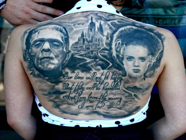 Black Ink Tattoo of Frankenstein, the Bride, and Castle