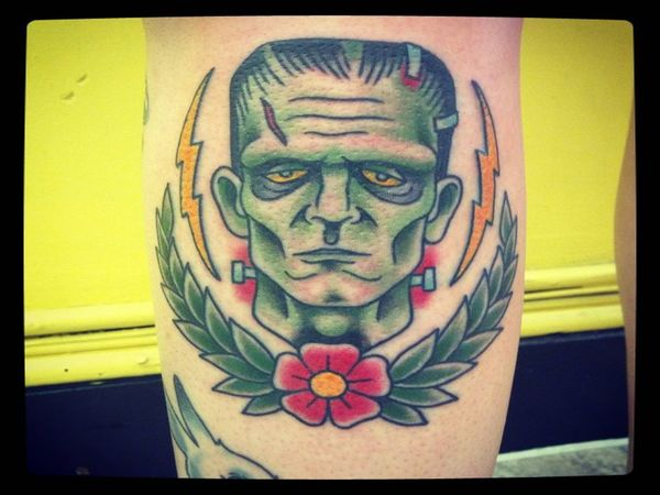 Cartoon Colored Frankenstein with Yellow Lightning Bolts and Garland