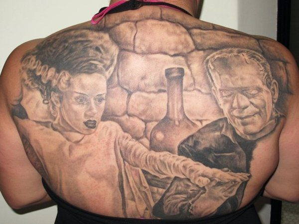 Frankenstein and His Bride Back Tattoo