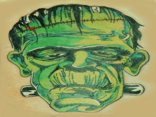 Cartoon Colored Frankenstein with Green Face and Black Neck Bolts