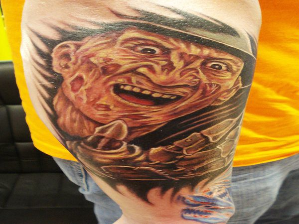 Colored Freddy Krueger Smiling Tattoo with Glove