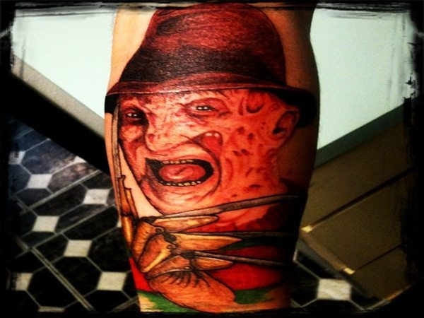 Colored Freddy Krueger Tattoo with Red and Green Sweater