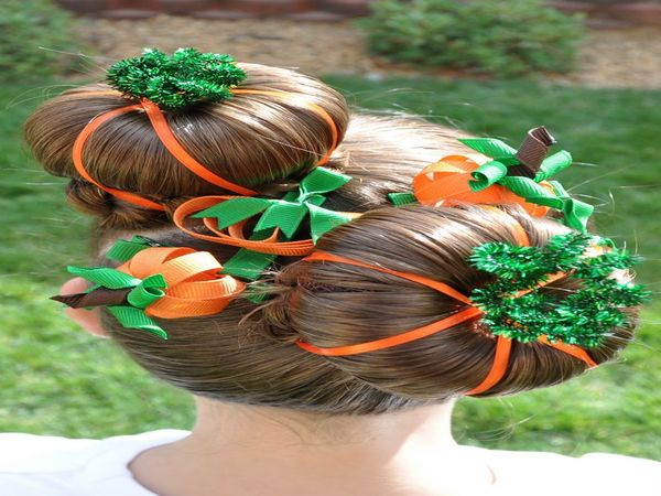 Pumpkin Hair with Orange Ribbon and Green Pipe Cleaners