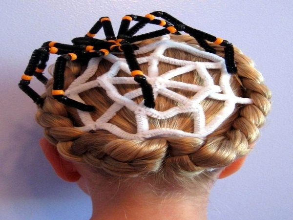 Braided Hair with White Spider Webs and Black and Orange Beaded Spider