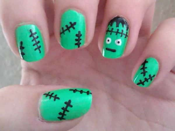 Green Frankenstein Nails with Stitching and Face