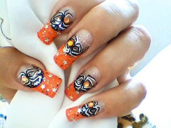 Plain Nails with Orange Tips and Black Spiders