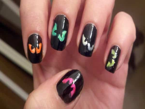 Black Nails with Multicolored Eyes