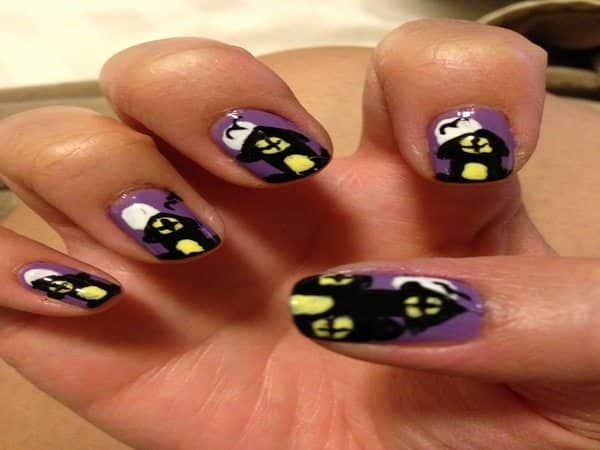 Purple Nails with Black Haunted House with Glowing Yellow Windows