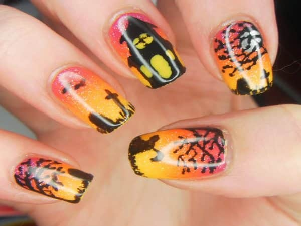 Orange, Pink, and Yellow Nails with Trees, Tombstones, and a Haunted House