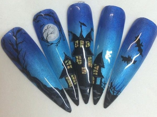 Blue Set of Nails That Form a Haunted House with Trees, the Moon and Bats