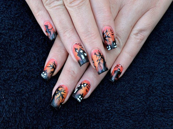 Orange Nails with Black Tips, and a Haunted House, Trees, and Glowing Pumpkins