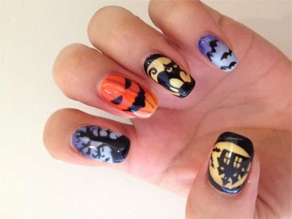Halloween Design Nails with a Tree, Haunted House with Yellow Moon