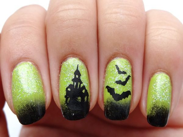 Yellow Nails with Glitter, Black Tips, Black Bats, and a Black Haunted House