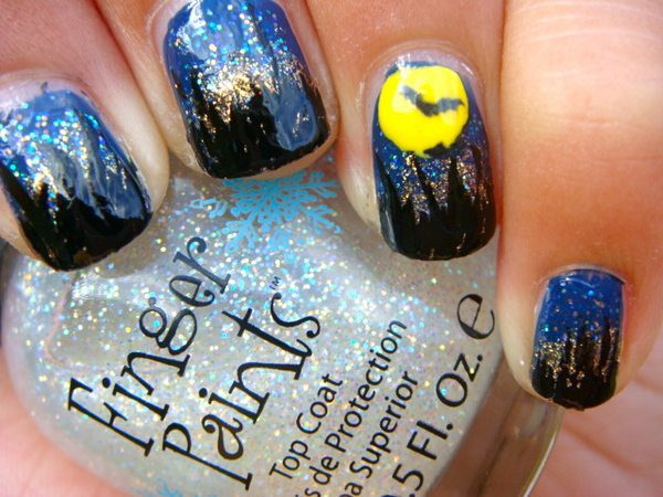 Blue Nails with Haunted Houses, Glitter, and a Yellow Moon