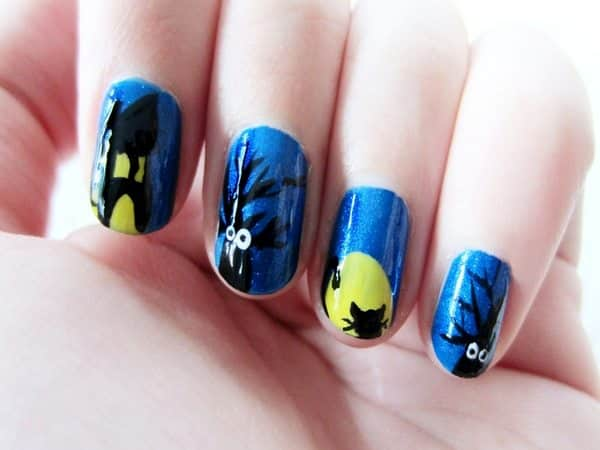 Medium Blue Nails with Haunted Houses, Trees, the Moon and a Cat