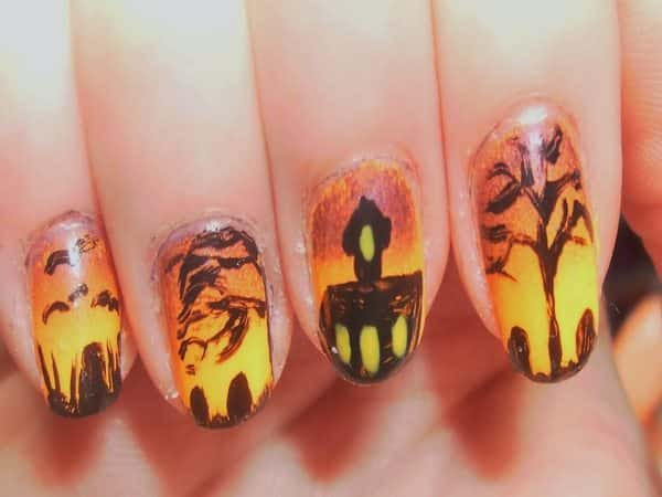 Yellow and Orange Nails with a Haunted House, Trees, and a Cemetery