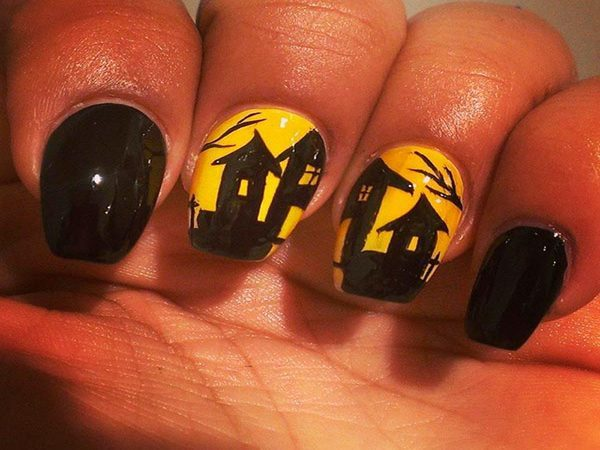 Yellow and Black Nails Painted with Haunted Houses and Trees