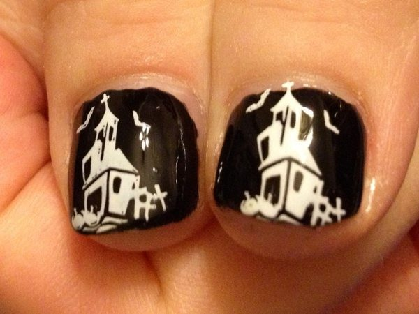 Black Nails with White Haunted Houses