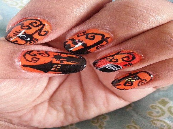 Orange Nails with Black Haunted Houses, Cats, Owls, and a Tombstone