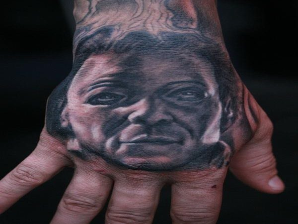Michael Myers Hand Tatto In Black Ink