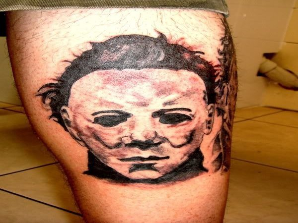 Michael Myers Mask Leg Tattoo Done In Black Ink