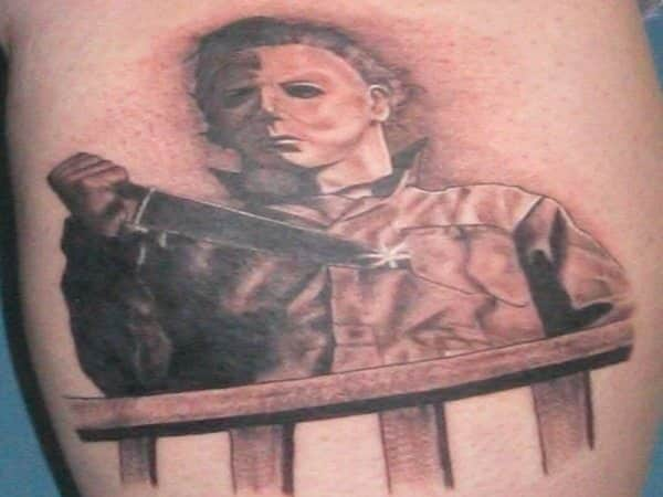 Michael Myers Halloween Tattoo with Knife