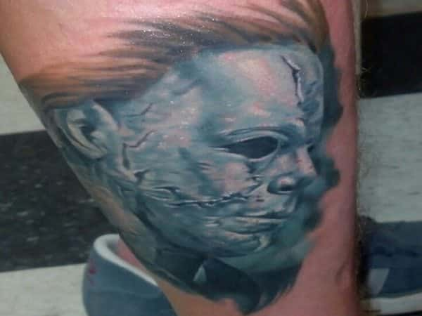 Colored Michael Myers Mask Tattoo with Brown Hair