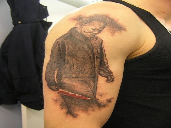 Michael Myers Profile Walking Tattoo with Knife