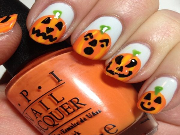 Plain White Nails with Carved Pumpkins