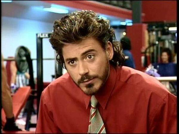 Robert Downey In Natural Born Killers with Long Curly Hair with Blond Streaks