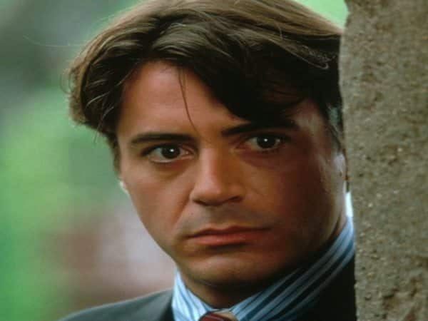 Robert Downey with Long Hair Parted to the Side