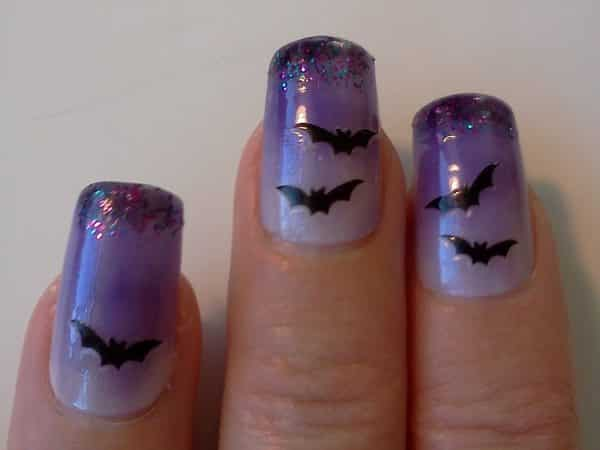 Purple Nails with Purple Glitter Tips and Bats