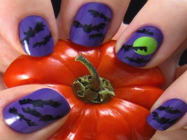 Purple Nails with Bats and One Green Moon