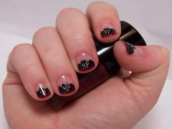 Plain Nails with Black Bats and Red Tips