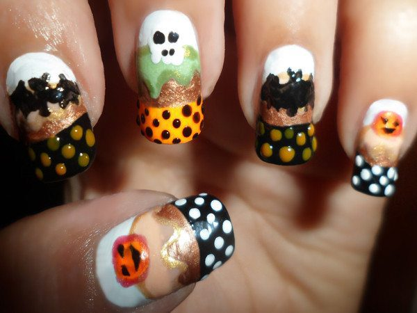 Halloween Nails with Pumpkins, Ghosts, Bats, and Black, and Yellow Tips with White, Brown, and Yellow Dots