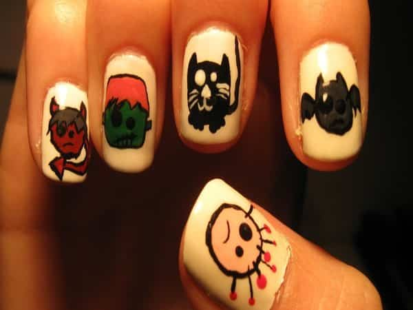 White Nails with Devils, Frankenstein, Cats, Bats, and Ghosts