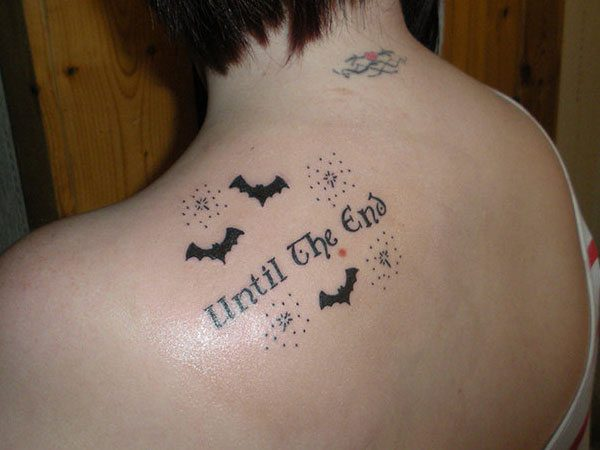 Until the End Bat Tattoo with Dots