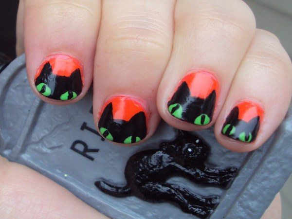 Orange Nails with Black Cats with Green Eyes