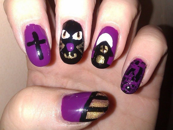 Purple Nails with Black Cat Designs, Cross, and Haunted House