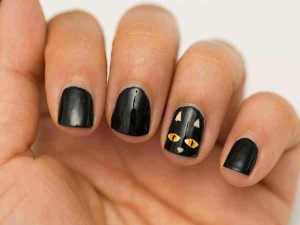 Black Nails and Single Nail with Black Cat with Yellow Eyes