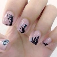 10 Terrifying Black Cat Halloween Fingernail Designs