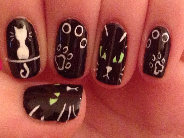Black Nails with White Cat Faces, and Other Cat Designs