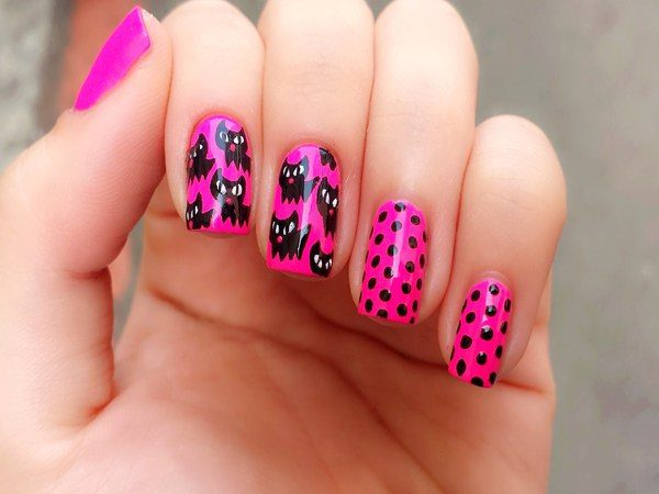 Pink Nails with Black Cats and Black Dots