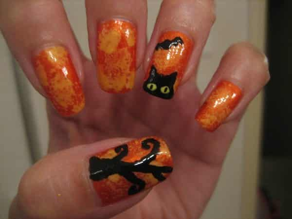 Orange and Gold Nails with Black Cat Design