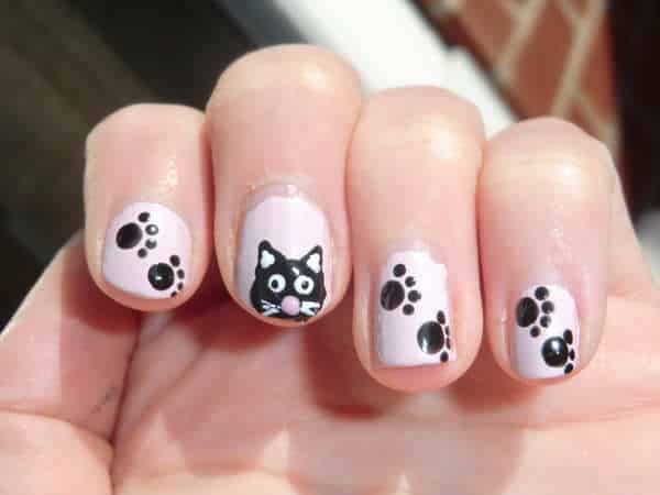 White Nails with Black Cat Faces and Paw Prints