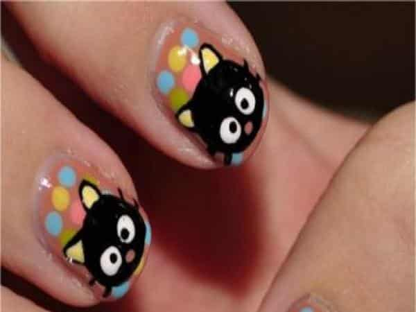 Multicolored Polka Dot Nails with Black Cats