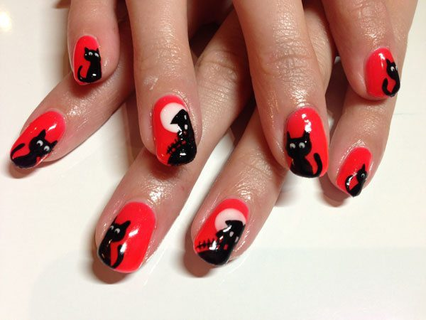 Red Nails with Black Cats Plus Haunted House and Full Moon