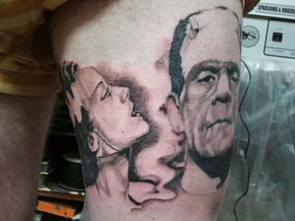 Frankenstein and His Bride Together Tattoo