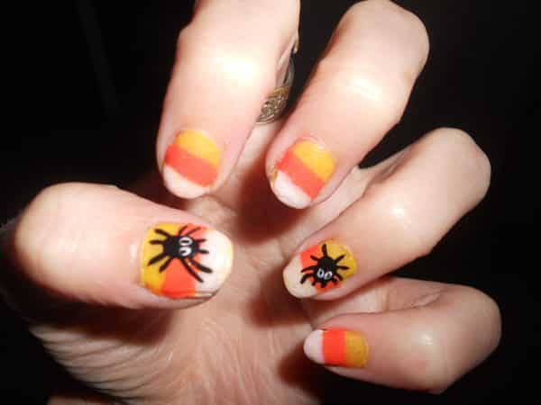 Candy Corn Nails with Black Spiders